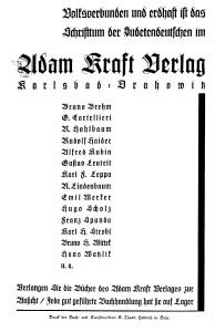 Adam Kraft Verlag Anzeige