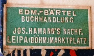 Firma Ed. Bärtel. Buchetikette. Dank an Herrn Markus Kammerer