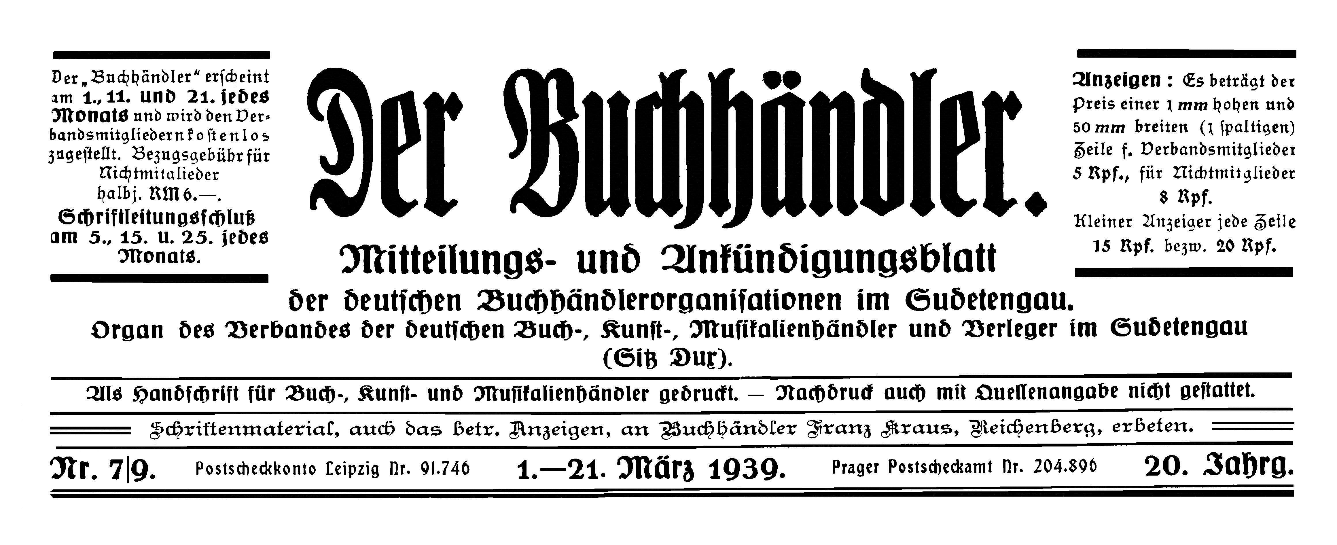 Der Buchhändler 1939