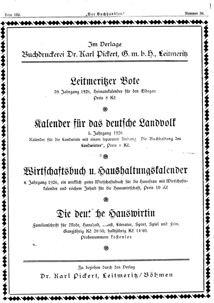 Karl Pickert Anzeige