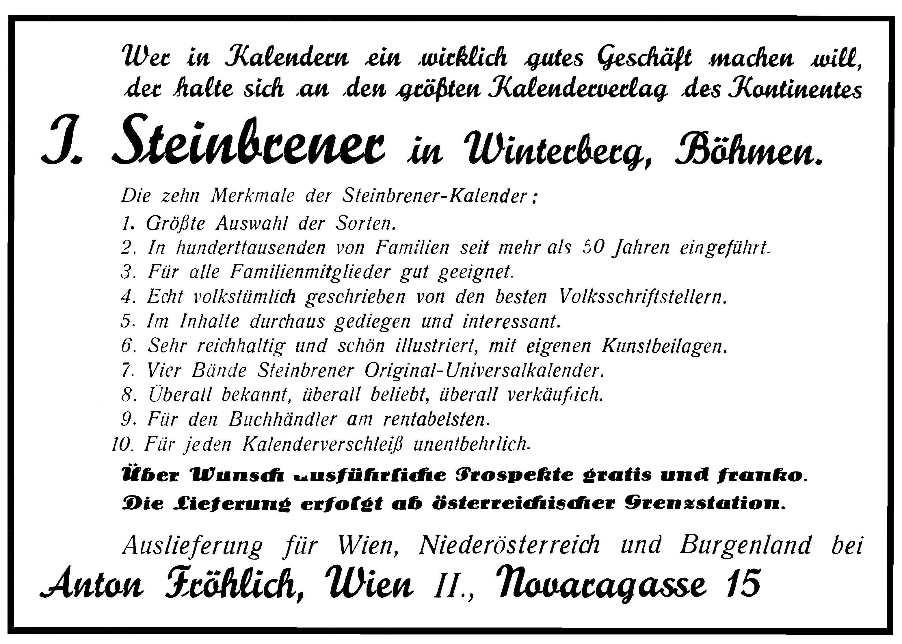 Steinbrener Anzeige
