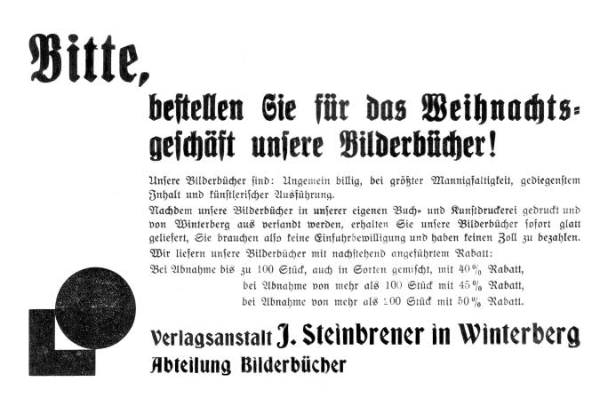 Verlagsanzeige J. Steinbrener