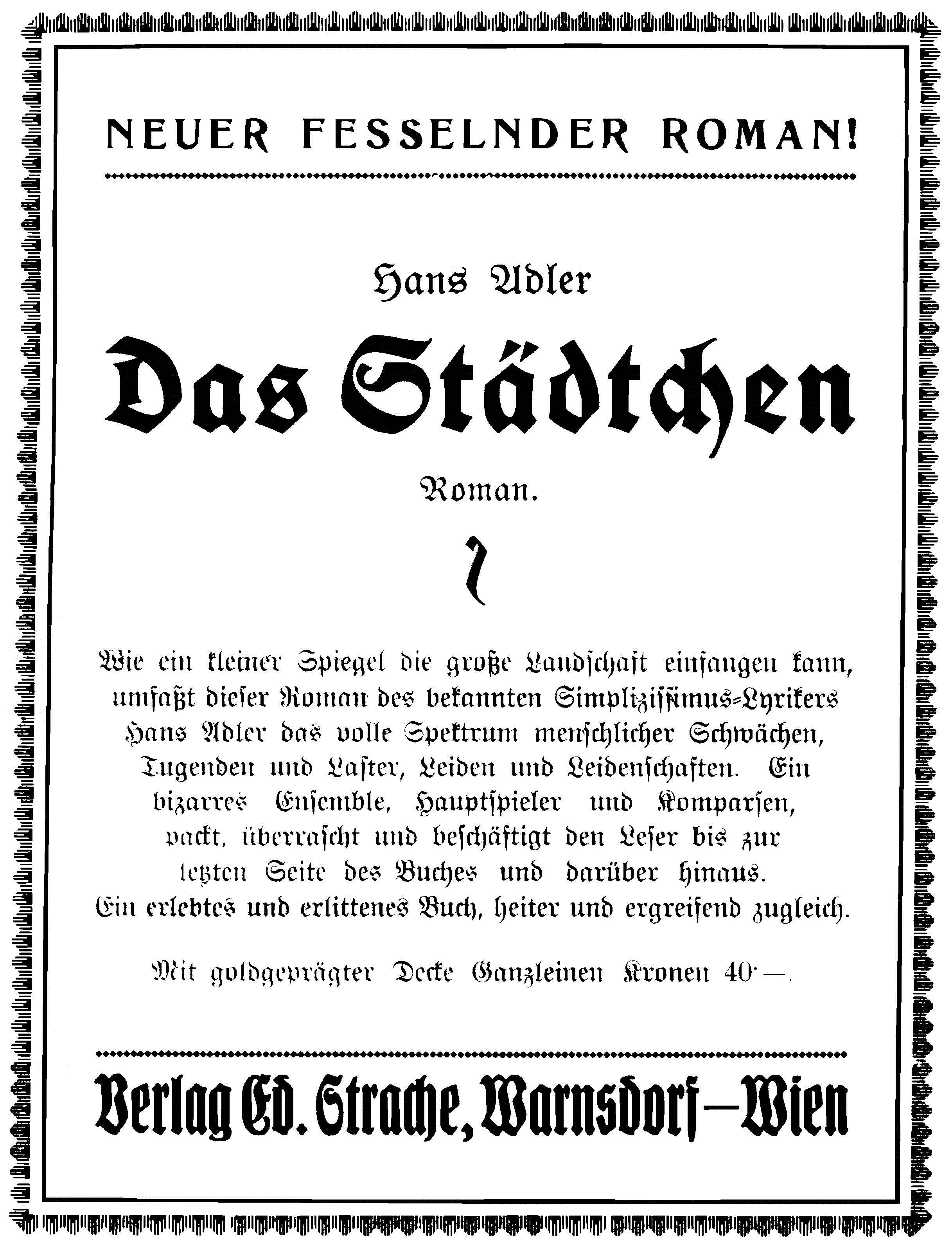 Ed. Strache Anzeige Das Städtchen