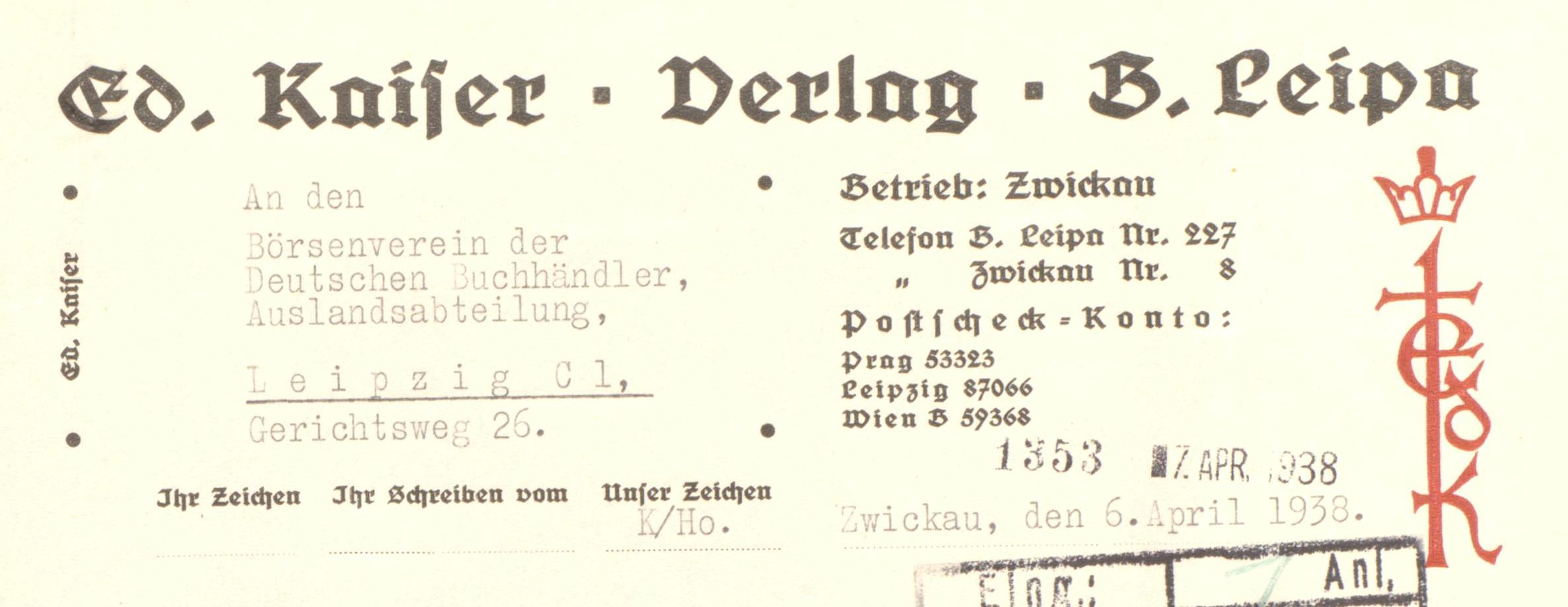 Eduard Kaiser Verlag Briefkopf 1