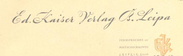 Eduard Kaiser Verlag Briefkopf