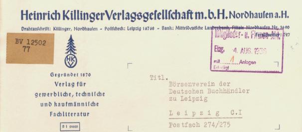 Heinrich Killinger Verlagsgesellschaft Briefkopf