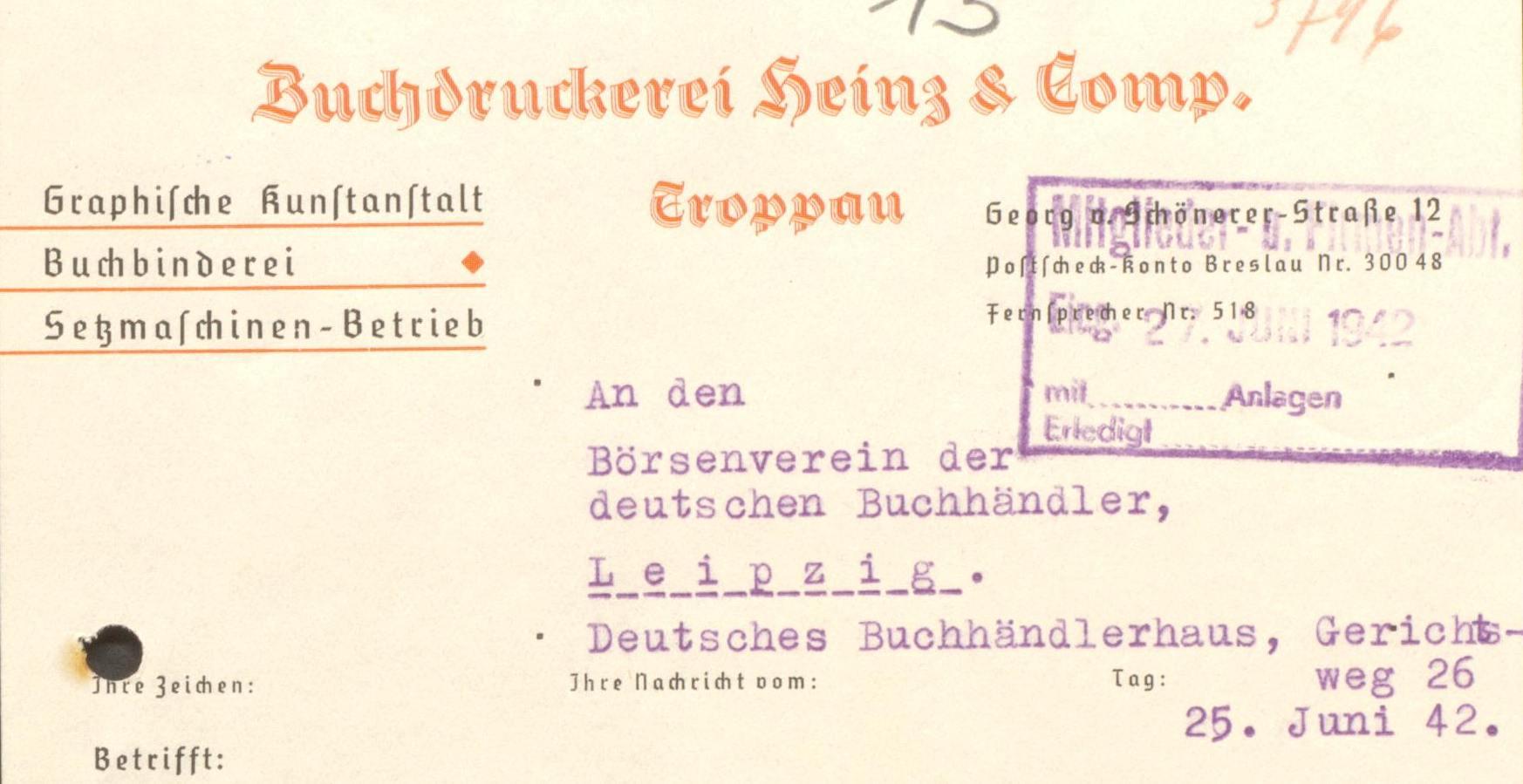 Heinz und Comp Briefkopf