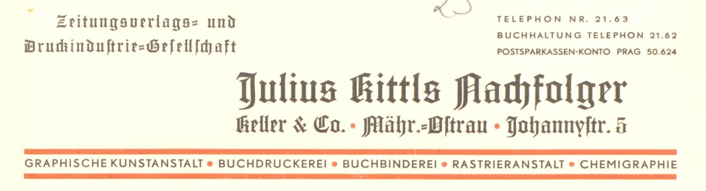 Jul. Kittls Nachfolger Briefkopf