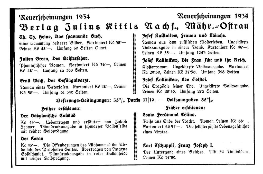 Jul. Kittls Nachfolger Neuerscheinungen 1934