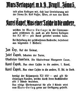 Mars Verlag Anzeige