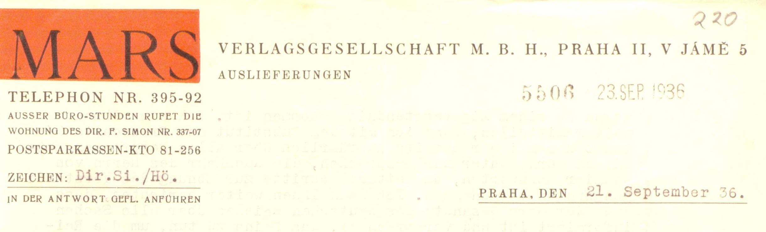 Mars Verlag Briefkopf