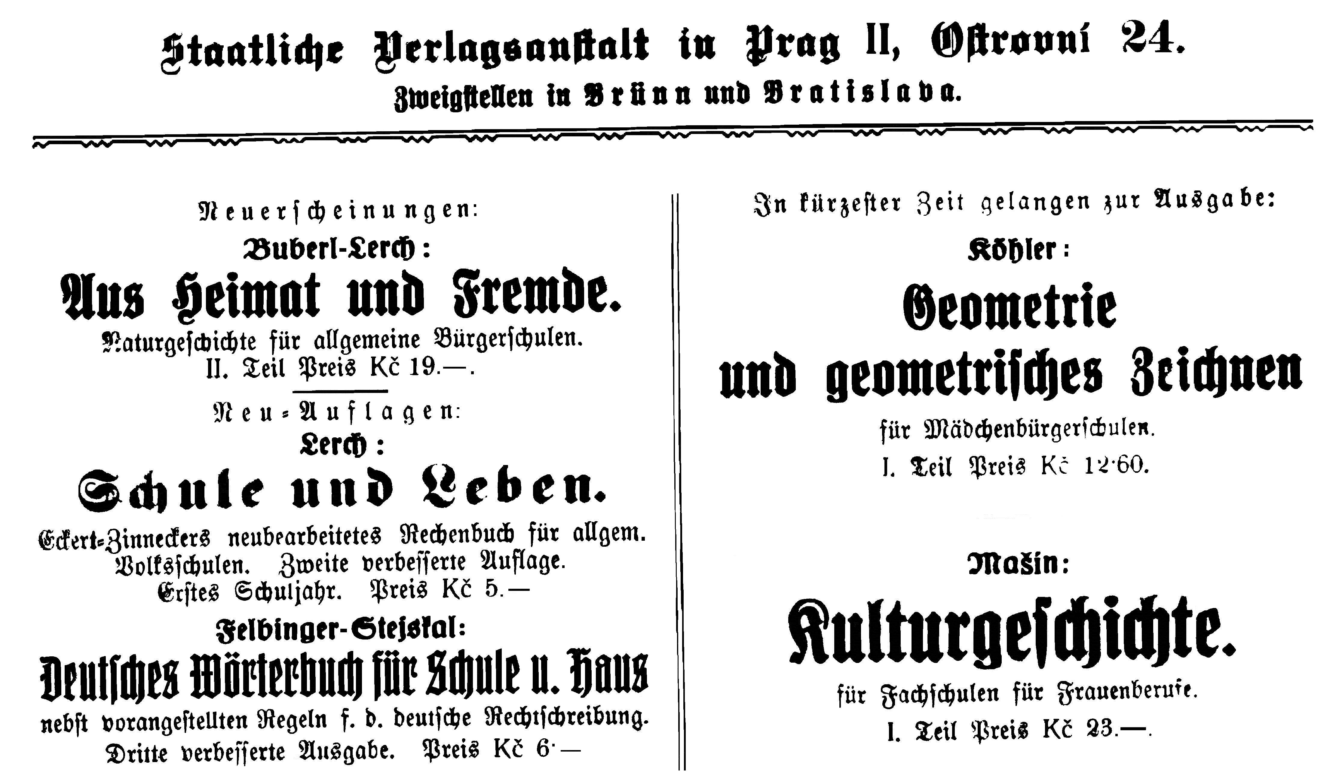 Staatliche Verlagsanstalt Anzeige