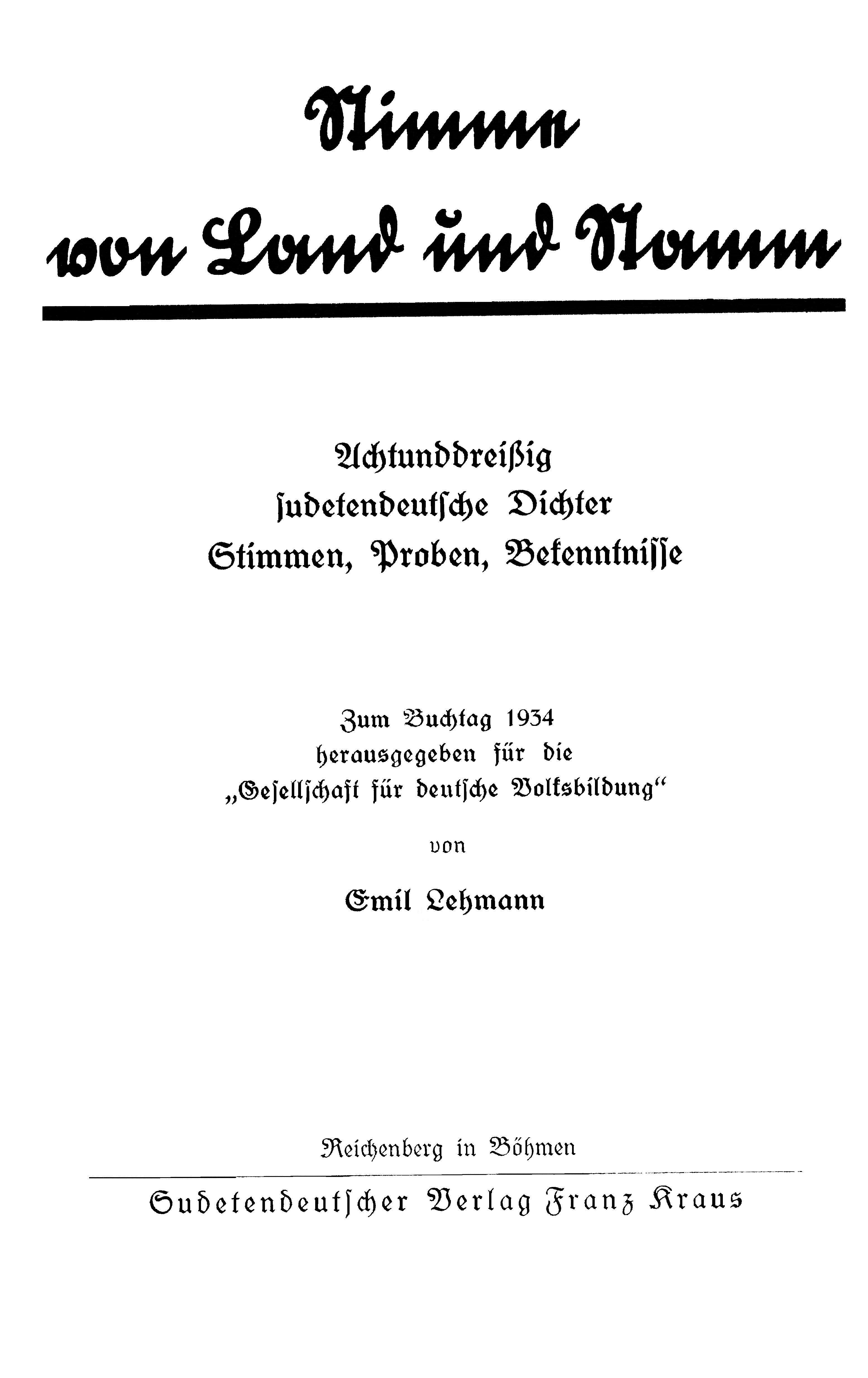 Sudetendeutscher Verlag Franz Kraus Titelblatt